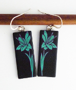 Blue Giusti Dichroic Glass Lilly Earrings
