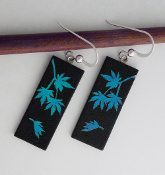 Blue Japanese Maple Leaf Dichroic glass Earrings
