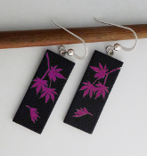 Pink Giusti Dichroic Glass Japanese Maple Leaf Earrings