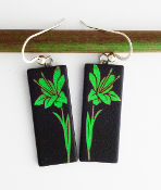 Giusti Dichroic Glass Green Lilly Earrings