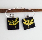Yellow Dragonfly Giusti Dichroic Glass Earrings