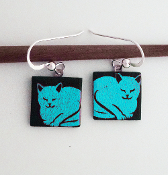 Blue Giusti Dichroic Glass Cat Earrings