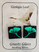 Green Gingko Giusti Dichroic Glass Earrings