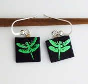 Green Dragonfly Giusti Dichroic Glass Earrings