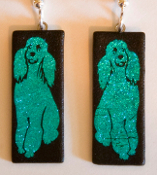 Blue Poodle Earrings with Silver Loops