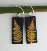 Yellow Giusti Dichroic Glass Fern Earrings