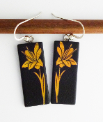 Yellow Giusti Dichroic Glass Lilly Earrings