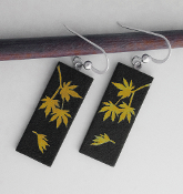 Yellow Giusti Dichroic Glass Japanese Maple Leaf Earrings