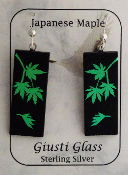 Green Dichroic Glass Japanese Maple Earrings