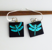 Blue Dragonfly Giusti Dichroic Glass Earrings