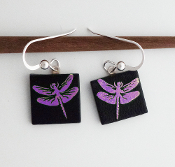 Pink Dragonfly Giusti Dichroic Glass Earrings