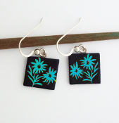 Blue Edelweiss Giusti Dichroic Glass Earrings