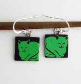 Green Cat Giusti Dichroic Glass Earrings