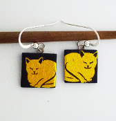 Yellow Cat Giusti Dichroic Glass Earrings