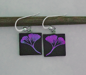 Pink Gingko Giusti Dichroic glass Earrrings